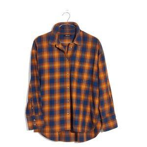 Madewell Westward Arden Plaid Orange/Blue Top M
